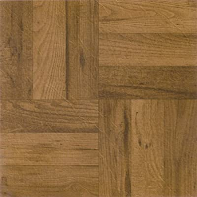 Achim Imports FTVWD22545 Tivoli 3 Finger Medium Oak Parquet 12x12 Self Adhesive Vinyl Floor Tiles/45 Sq Ft, Piece