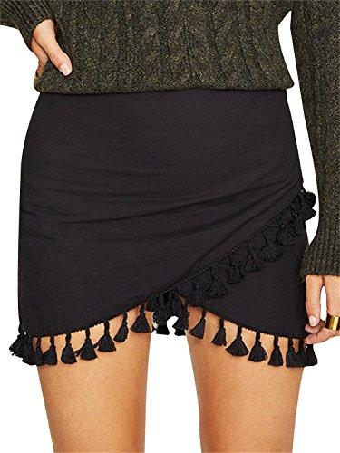 BerryGo Women's Sexy High Waist Tassel Wrap Pencil Mini Skirt Black,L