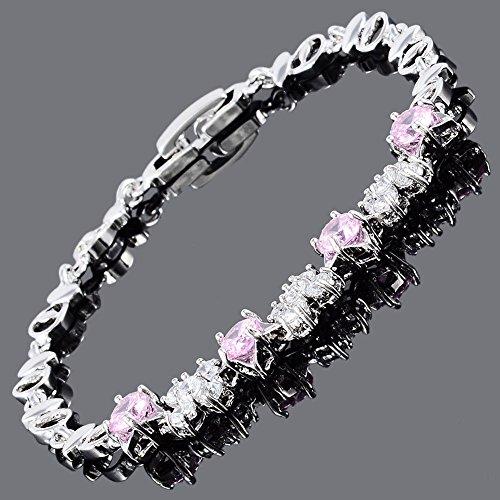 Phetmanee Shop Round Cut Pink Sapphire 18K White Gold Plated Cubic Zirconia Tennis Bracelet