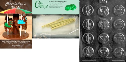 Cybrtrayd Bow and Arrow Hunter Mints Chocolate Mold with Chocolatier's Bundle, Includes 25 Cello Bags, 25 Gold Twist Ties and Chocolatier's Guide (Bow Tie Mint Molds)