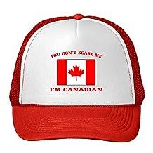 You Don'T Scare Me, I Am Canadian Flag Adjustable Trucker Hat Cap