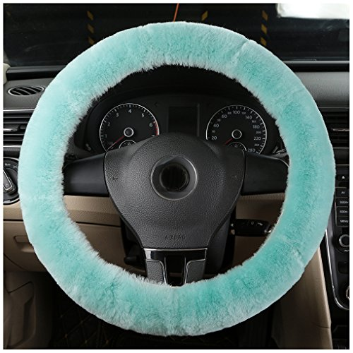 Bellesie Universal Warm Winter Genuine Wool Sheepskin Car Steering Wheel Cover Cushion Protector for 35cm-43cm Steering Wheel in Diameter