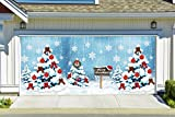 Colorful Christmas Tree Snowflakes Banners for 2 Car Garage Door Covers Outdoor Billboard Garage Door Holiday Christmas Decor Full Color House Murals Made In The USA size 82x188 inches DAV20