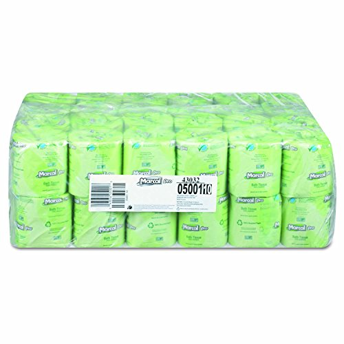 MarcalPro 5001 White 100% Recycled 2-Ply Bath Tissue Rolls, 500 sheets (Case of 48)