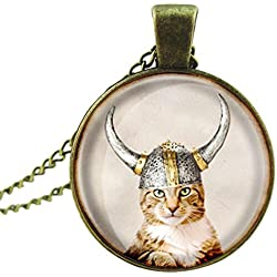 Susenstone®Women Cat Pendant Vintage Glass Cabochon Statement Chain Necklace (6)