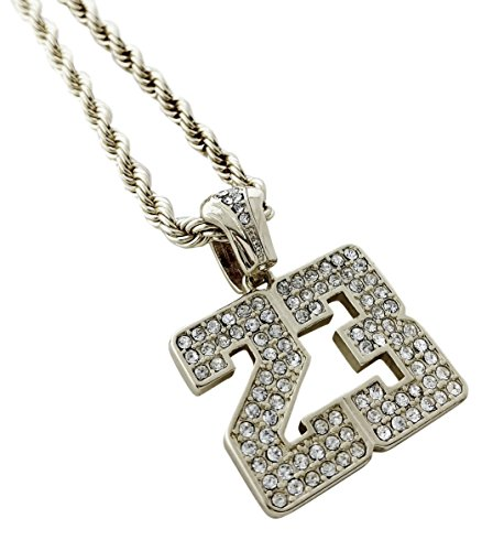 Mens 23 Jewels - United Bling Iced Out Silver Number 23 Pendant Necklace with 24