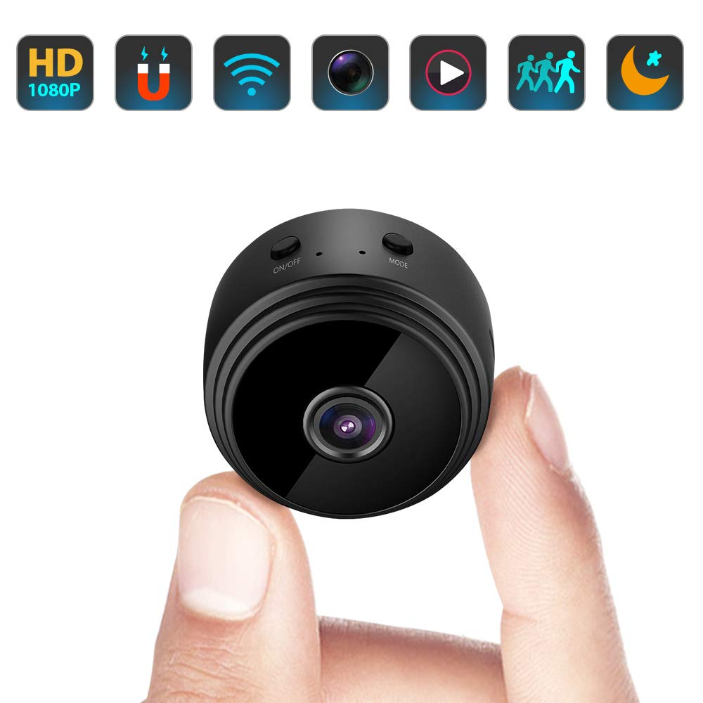 Mini Hidden Spy Camera WiFi Small Wireless Video Camera Full HD 1080P Audio Night Version Motion Sensor Support SD Card for iPhone Android Video Detection Infrared Vision Tiny Nanny Surveillance Cam by Pofeite