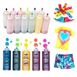 Tulip One-Step Tie-Dye Kit One-Step Tie Kit, Rainbow DIY, Fun, Non-Toxic Fabric, Easy Activity for Large Groups, Party Supplies, Bundle Includes 12 Bottles of Vibrant Dye Colors (Color: Original Version)