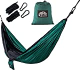 K2 Camp Gear Nylon Double Hammock with Ropes and Aluminum Wire Gate Carabiners, Forest Green / Black