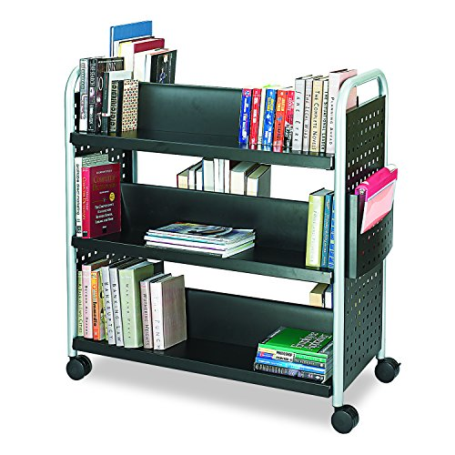 Safco Products 5335BL Scoot Double-Sided Book Cart, 6 Shelf, Black (Rolling Bookshelf)