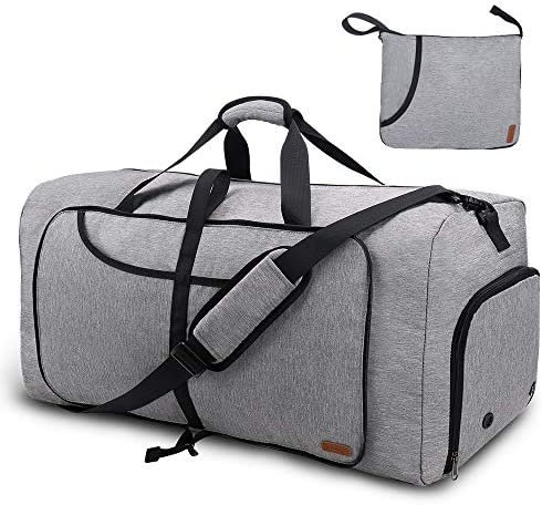 Vogshow Travel Duffel Bag, 75L Foldable Overnight Weekender Bag With Shoes Compartment for Men Women Convertible Luggage Bag Water-Resistant Large Gray