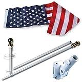 Allied Flag American Home Nylon 3 5-Feet US Flag Set 5-Feet Spinning Flag Pole