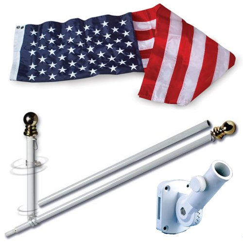 Allied Flag American Home Nylon 3 by 5-Feet US Flag Set with 5-Feet Spinning Flag Pole ()