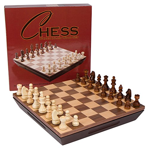 Aria Chess Inlaid Wood Board Game with Weighted Wooden Pieces and Tray - 16 Inch Set ()