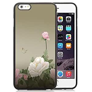 NEW Unique Custom Designed iPhone 6 Plus 5.5 Inch Phone Case With Peony Flowers Butterfly_Black Phone Case