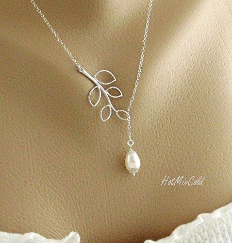 Amazon Com Simple Wedding Jewelry Necklace Dainty Teardrop White