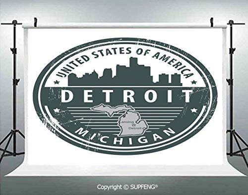 Photography Backdrops Damaged Old Stamp of Michigan USA with City Map Location Tourism Icon Decorative 3D Backdrops for Photography Backdrop Photo Background Studio Prop]()