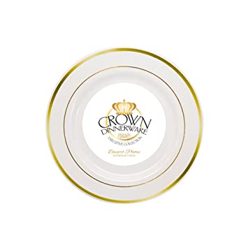 Amazon.com : Gold Rim 30 Bulk Dinner Wedding Disposable Plastic Plates Silverware Party New : Office Products