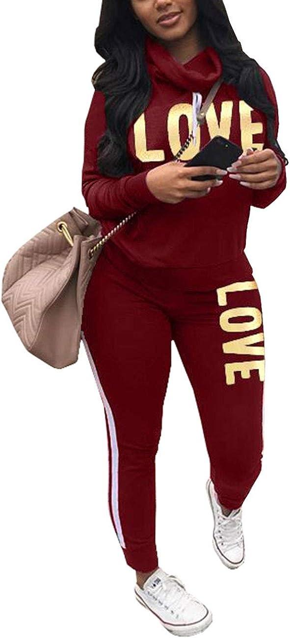 con stampa include felpa con scollo ampio e morbido e pantalone lungo skinny Tuta da donna a due pezzi Akmipoem