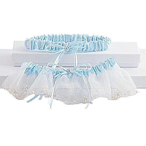 Romantic Organza Bridal Garter Set With Crystals