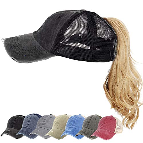 Ponytail Hats Washed Distressed Black Vintage Sports Messy High Bun Hat Ponycaps Cotton and Mesh Trucker Baseball Cap