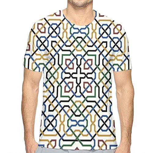3D Printed T Shirts,Traditional Moorish Motif with Classic Ethnic Arabic Effects Marrakesh Design ()