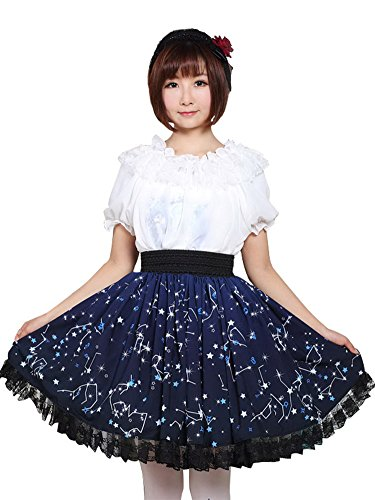 Trendareus Deep Blue Polyester Constellations Printed Lace Kawaii Lolita Skirt