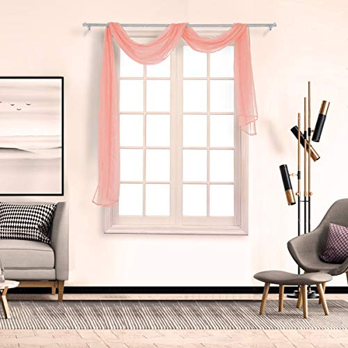 (BeautyShe Small Window Sheer Curtains, High Thread Crushed Sheer Voile Draperies/Drapes with Rod Pocket/Back Tab for Kitchen)