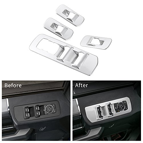 Voodonala Silver Window Lift Panel Switch Trim Covers for 2015 2016 2017 2018 Ford F150 Accessories