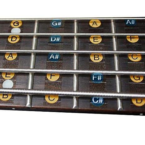 2PCS/PACK 4 cuerdas Guitarra bajo Balanzas pegatinas diapasón mástil Nota etiqueta pegatinas de traste para guitarra bass 30 * 7.5 cm Freeness: Amazon.es: ...