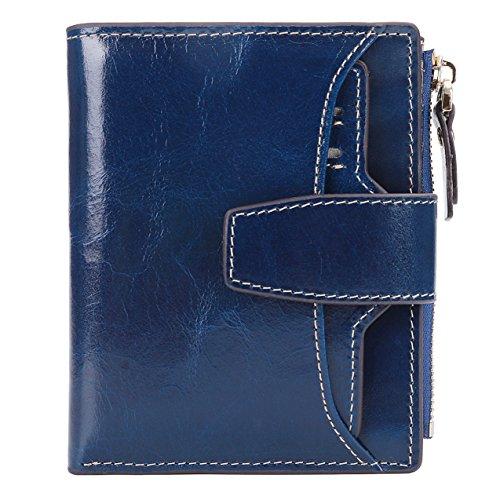 AINIMOER Women's RFID Blocking Leather Small Compact Bi-fold Zipper Pocket Wallet Card Case Purse (Waxed Blue)