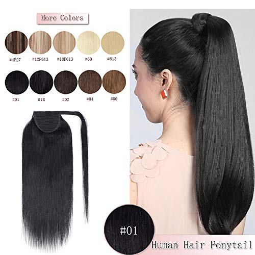 - 100% Real Human Hair Wrap Around Ponytail Extensions One Piece Hair piece With Combs Binding Pony Tail Extensions Long Straight For Women #1 Jet Black 20'' 95g