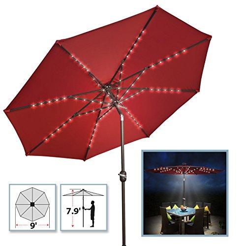 BenefitUSA 9' Patio Umbrella 80 LED Light Garden Tilt Crank Outdoor Sunshade (Burgundy)