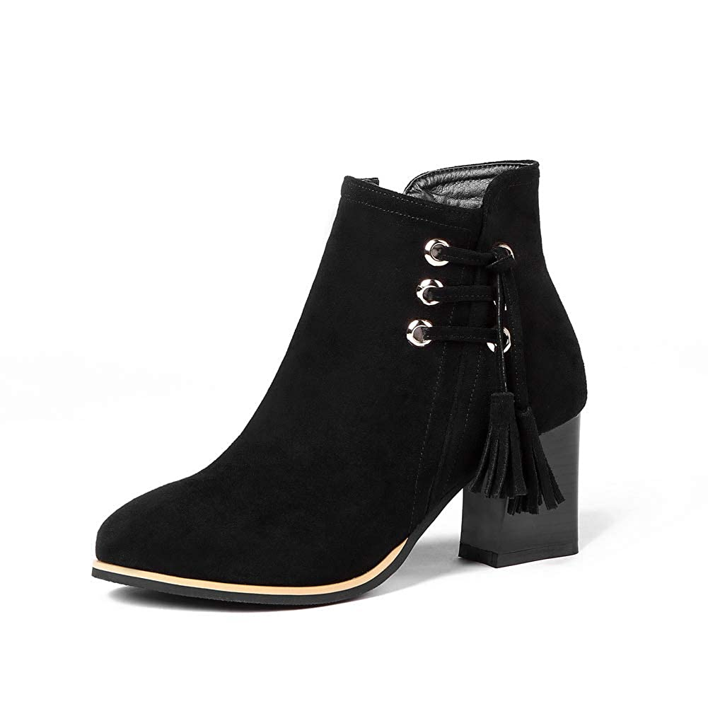 AN Womens Chunky Heels Tassels Imitated Suede Boots DKU02289