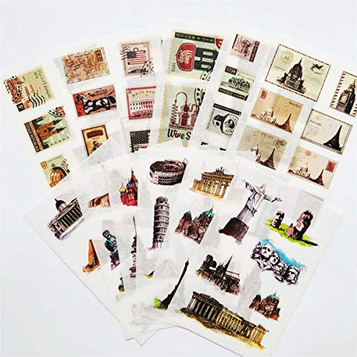 12 Sheets/Pack Vintage Stamps and Famous Building Washi Paper Stickers Creative Notebook Diary Scrapbook Pencil case Planners Bullet Journals Decals Label Decoration