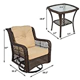 3 Pieces Patio Wicker Bistro Chairs Rattan