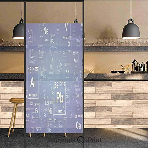 - 3D Decorative Privacy Window Films,Chemistry Tv Show Inspired Image with Periodic Element Table Image Print Art,No-Glue Self Static Cling Glass film for Home Bedroom Bathroom Kitchen Office 24x48 Inch