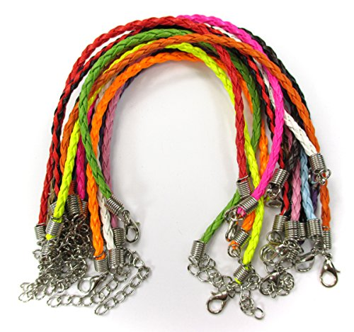 "ALL in ONE Mixed Color Braided Leather Cord Necklace with Lobster Clasp Extended Chain 17""-19"" (MIX 10PCS - Color Orange Mix"