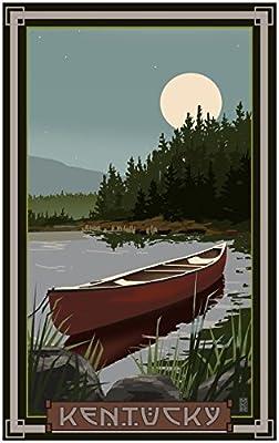 Kentucky Canoe In Moonlight Travel Art Print Poster by {Artist.FullName} ({OutputSize.ShortDimensions})