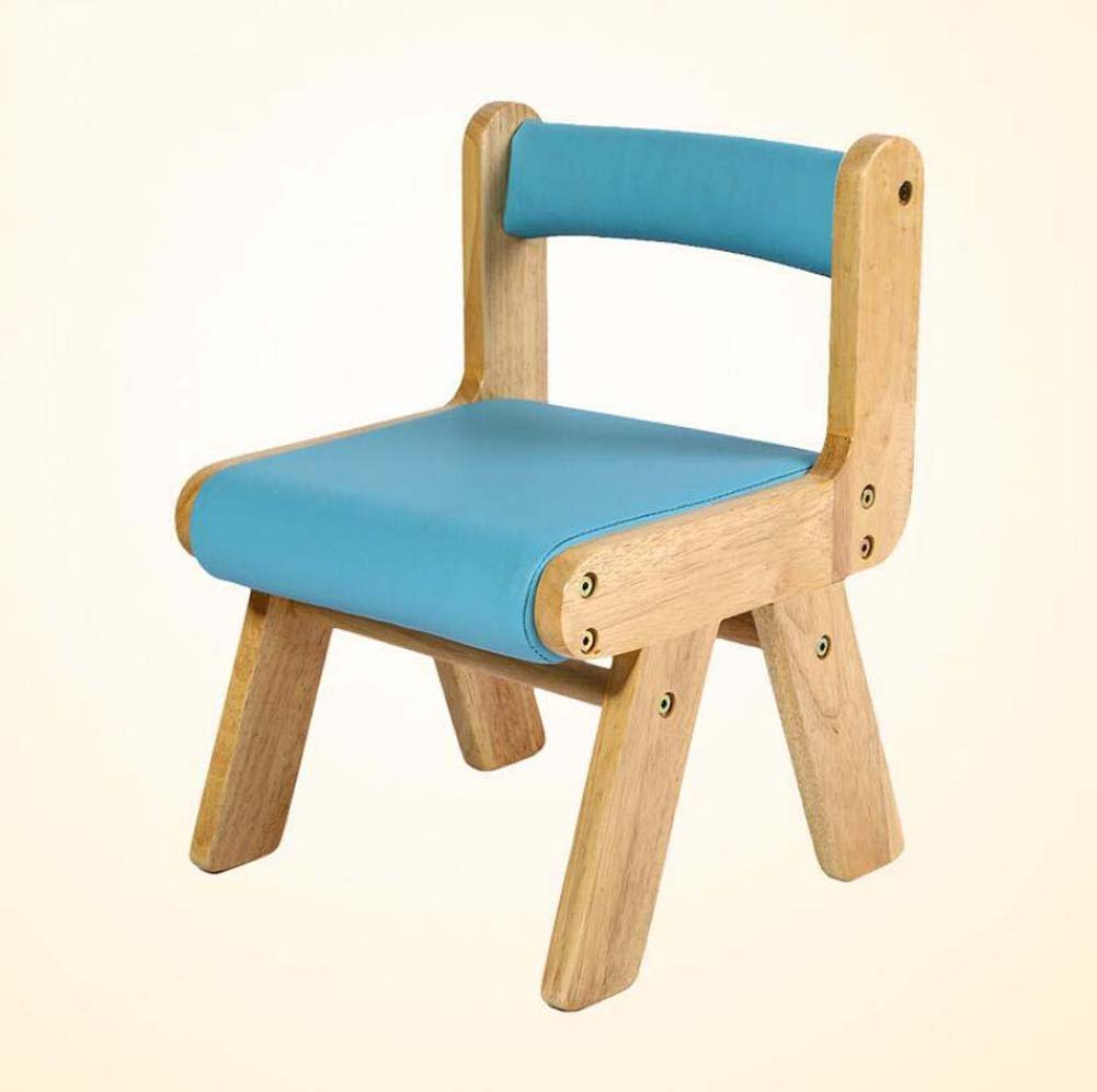 TTrar Portable Folding Chair Children's Backrest Chair Small Bench Study Chair, Solid Wood Baby Chair, Dining Chair Convenient and Practical (Color : Blue)