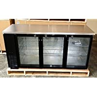 72' Commercial 3 Door Back Bar Beer Bottle Beverage Can Cooler Refrigerator, Black, with Stainless Steel Top and Glass Doors