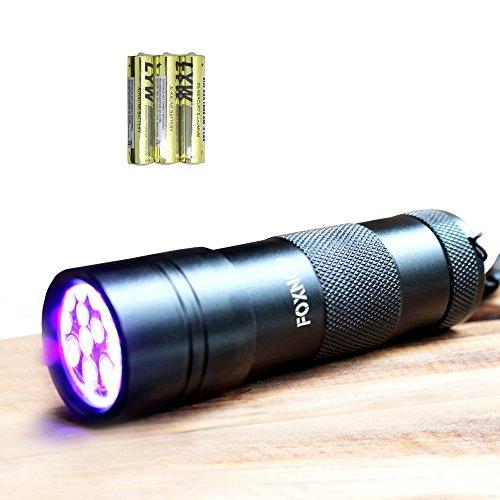 FOXNOV 12 LED UV Flashlight Black Lights Pet Dog Urine Stain Detector, 395nm with 3 AAA Batteries