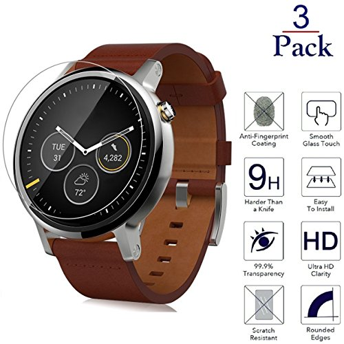 Josi Minea x3 Pcs Motorola Moto 360 [42mm] 2nd Generation 3D Tempered Glass Screen Protector with Full Coverage Anti-Scratch Ballistic LCD Cover Guard HD Shield for Moto 360 [42mm] 2nd Gen [3 Pack]