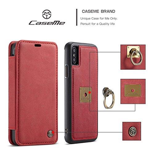 MXNET Funda para iPhone X, lujo desmontable 2 en 1 caja magnética de la carpeta del anillo de dedo para Apple iPhone X ( Color : Brown ) Red