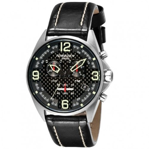 Torgoen Men's Aviator Analog Quartz Chronograph Watch T18101 With Leather Strap