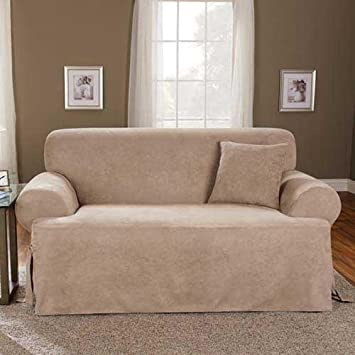 sure fit soft suede tcushion sofa slipcover taupe sf38650