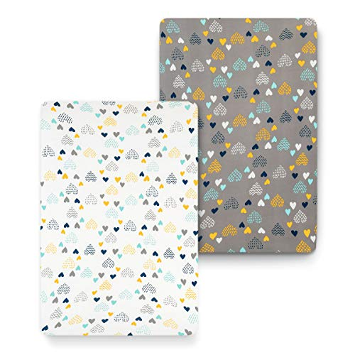 COSMOPLUS Stretch Fitted Pack n Play Playard Sheets – 2 Pack for Mini Crib Sheet Set,Pack n Play Mattress Cover, Ultra…