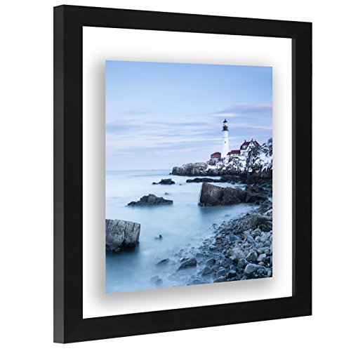 11x11 Inch Square Floating Frame - Modern Picture Frame Designed to Display a Floating Photograph, - Square Frames Black