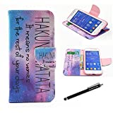 SAMSUNG GALAXY CORE PRIME CASE, G360 Wallet CASE - Galaxy Star Sky Hakuna Matata Pattern Premium PU Leather Wallet Case Stand Cover with Card Slots Cash Compartment for Samsung Galaxy Prevail LTE,Galaxy Core Prime G360 + CoolGiftCase Stylus
