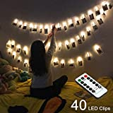 LED Photo Clips String Lights, 40 LEDs String Lights for Hanging Photos Pictures Cards & Memos, 16.4ft, 8 Modes Indoor Fairy Lights Ideal Gift Photo Clip Holder with Remote & Timer Function, Warm Whit